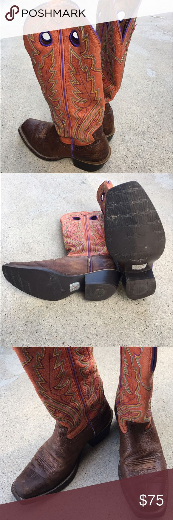 Twisted-X 9.5D buckaroo boots Salmon boot shaft purple/green stitching. Slightly worn Good Used Condition still lots of wear left in boot. Will consider offers Twisted X Shoes Cowboy & Western Boots