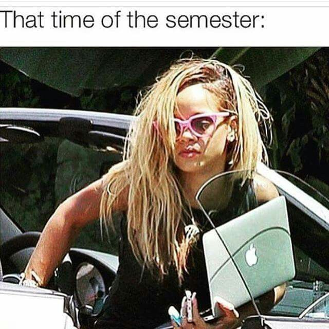 Not even at the middle of the semester and i'm already looking like this xP ... What is sleep? I don't know #funny #rihanna