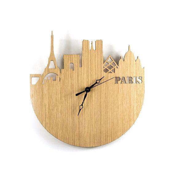 Rustic French Wall Decor : Large wall clock wood modern paris france eiffel tower