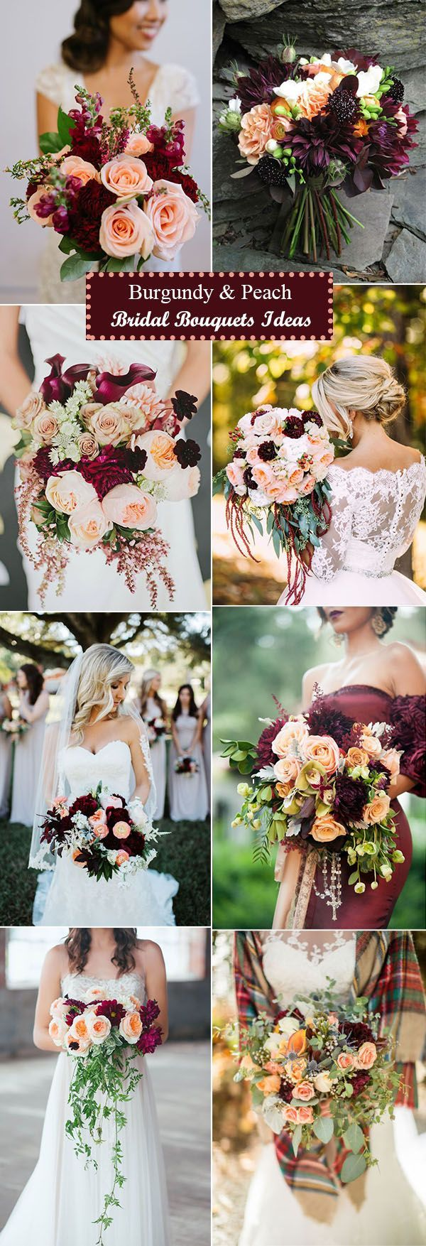 gorgeous burgundy and peach bridal bouquets