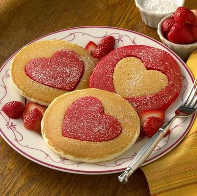 Cute Valentines Day breakfast. And this could potentially be easier than trying to make the pancakes into a heart shape. :)