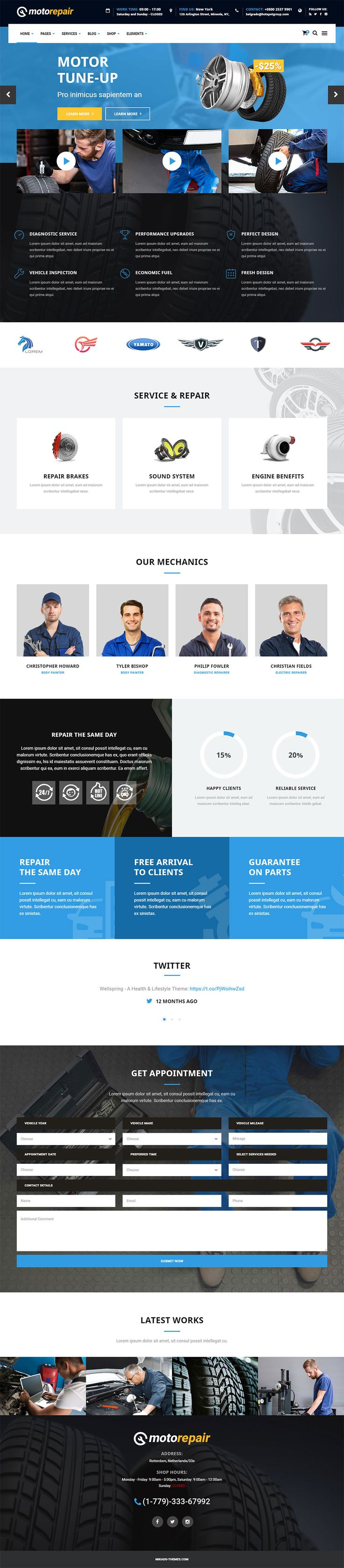 Motorepair is a powerful Wordpress theme for all car repair shops