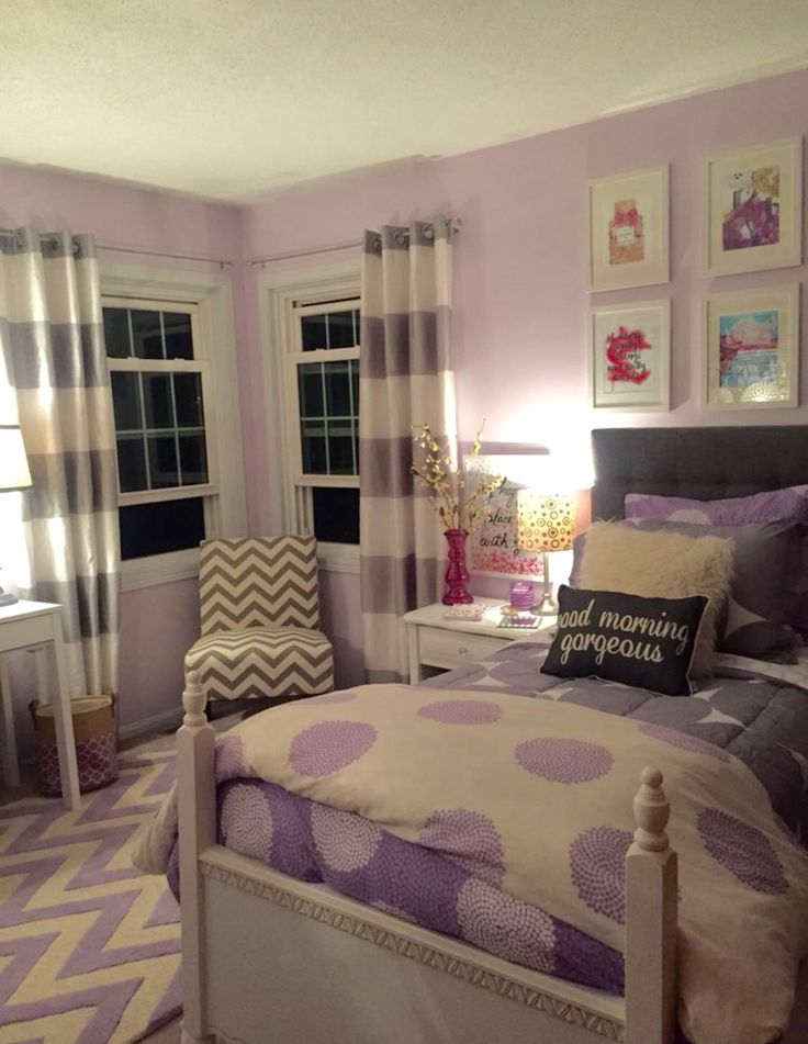 Teen girl purple lavender bedroom.