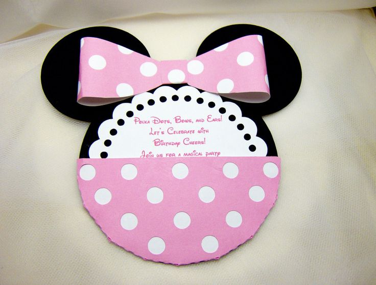 MInnie Mouse Die Cut Invitation in Pink.