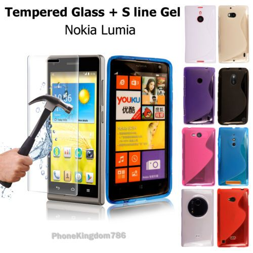 Soft-S-Line-Silicone-TPU-Gel-Case-Cover-Tempered-Glass-For-Nokia-Lumia-Phones