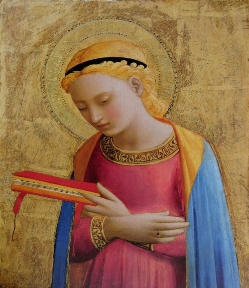 Fra Angelico, The Virgin Annunciate, ca. late 1420s; tempera and gold on panel; 12 3/8 x 10 inches.
