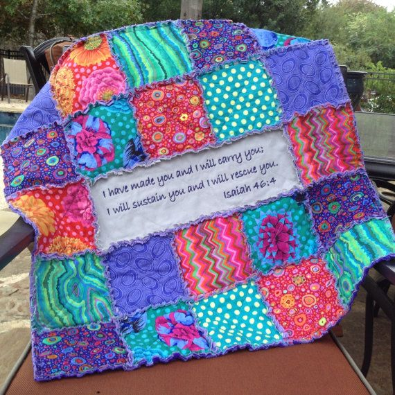 MADE TO ORDER RAG QUILT Colorful little girls rag quilt in stunning shades of purple, green, and fuschia pink from Kaffe Fassett fabrics. This
