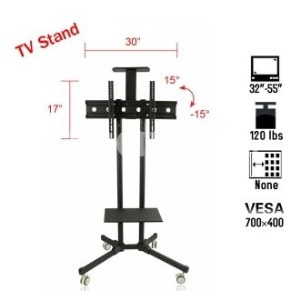 """Tilting 32-55"""" 120lbs Mobile TV Mount Stand Four Wheels LED LCD Plasma,$139.89"""