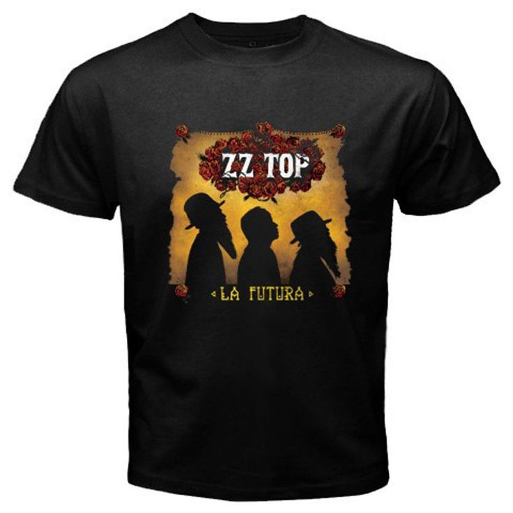 New ZZ TOP La Futura Classic Rock Band Logo Men's Black T-Shirt Size S To 2XL Rude Top Tee Round Neck Loose Black T Shirts Tees