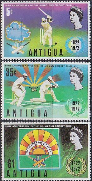 Postage Stamps Antigua 1972 Rising Sun Cricket Club Set Fine Mint SG 341/3 Scott 297/9 Other West Indies and British Commonwealth Stamps HERE!