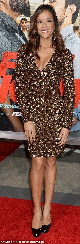 Leggy lady! Actress Dania Ramirez highlighted her enviable figure in a low-cut dress and p...