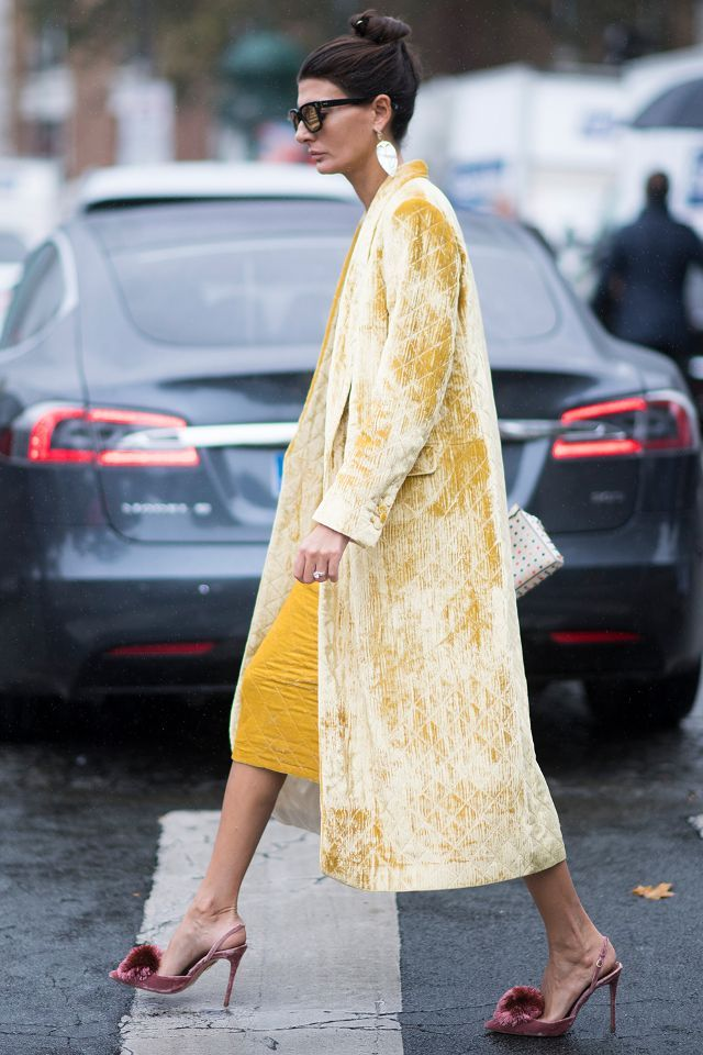 Luxe duster coat. wedding guest outfit ideas: a luxe satin or velvet coat can be a chic wedding statement