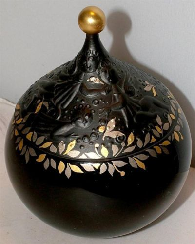 Rare-Black-Gold-MAGIC-FLUTE-Rosenthal-Wiinblad-Sugar-or-Trinket-Box-with-lid