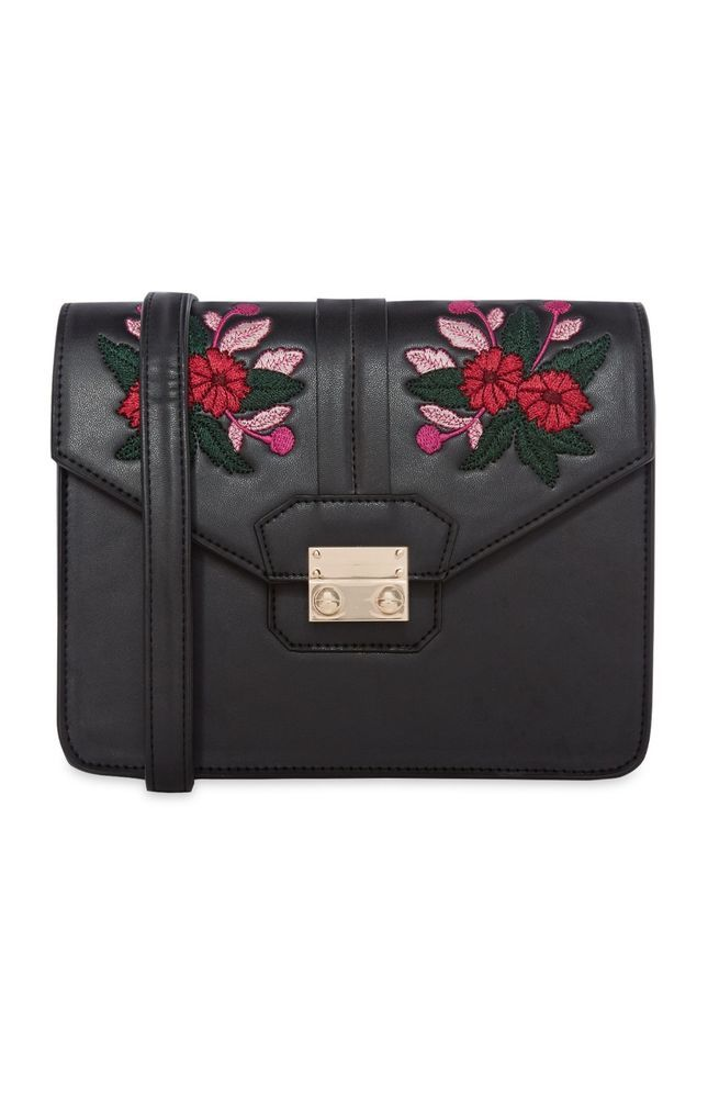 Women Floral Embroidered Crossbody Bag Balck Shoulder Bag Handbag Primark NEW