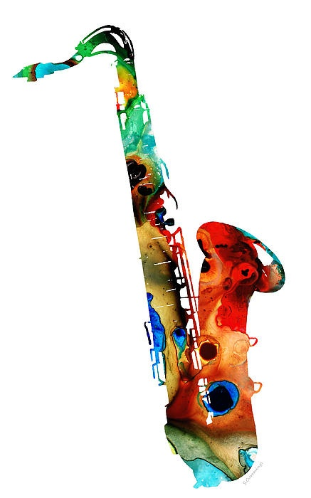 Colorful Saxophone By Sharon Cummings #music #instrument