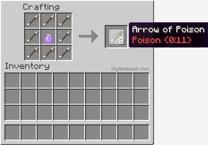 Now craft a tipped arrow wth Poison in Minecraft (and more ...