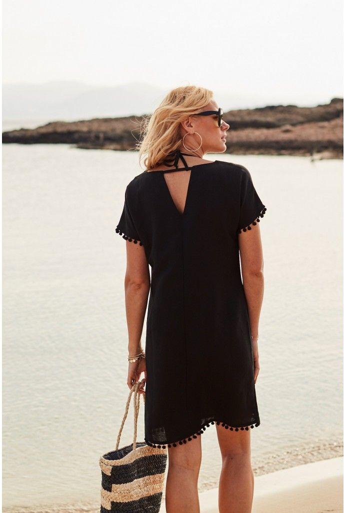 c476bd1c556 Black Linen Shift Dress With Pom Pom Hem - Shop Now