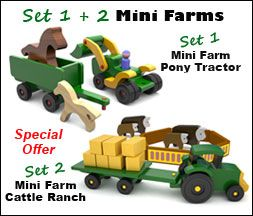 hat You'll Get: Set 1 - Mini Farm Pony Tractor ($12.95 value) Set 2 - Mini Farm Cattle Ranch ($12.95 value) Entire set valued at $25.90 if purchased individually!