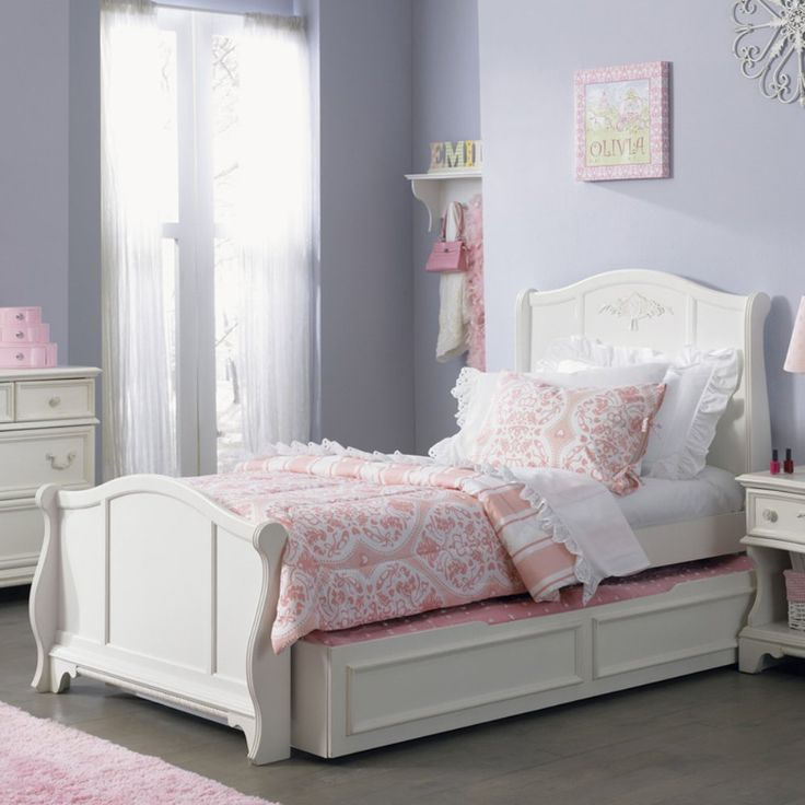 Arielle Sleigh Trundle Bed - A masterful bed perfect for any girls' room, the Arielle Sleigh Trundle Bed is brimming with antique charm. It's traditional design features smooth...