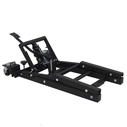 """J&S Jacks Motorcycle Lift - 2000 lb. Capacity  American Made Motorcycle Lift  Fits all Harley-Davidson bikes and most other motorcycle models with unobstructed lift tables. Indian adapters available. For a complete compatibility list, please contact us.  2000 lbs. Capacity without tie-downs or straps  Maximum Height of 18.5""""  Small Footprint (37"""" by 24"""") saves floor space"""