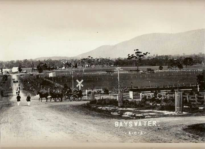 Mountain Highway Railway crossing early 1900s. Wine hall in the background, corner Bayswater Road.