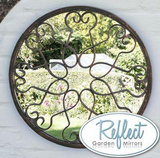 Specchio da Giardino Circolare con cornice in metallo a motivo floreale