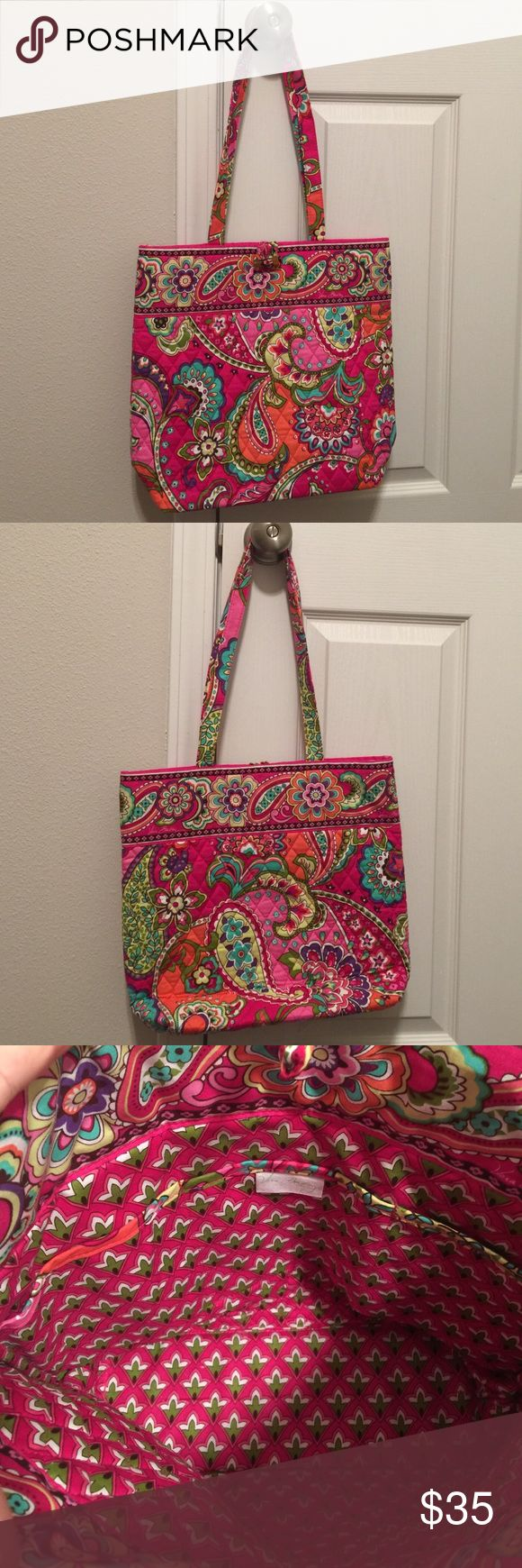 BRAND NEW Vera Bradley tote in Pink Swirls  This baby is crisp, brand new! (No tags). Won as a finishers gift at the Vera Bradley half marathon in Seaside :) never used. Vera Bradley Bags Totes