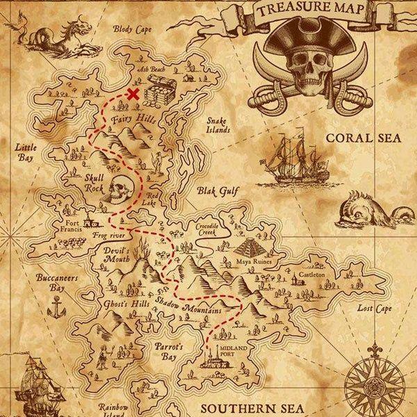 PIRATE MAP Miniature Dollhouse 1:12 Scale Caribbean Treasure Charts Map Ship Sea
