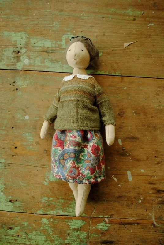 This is my Grandma doll. Her jumper is made from one of my old skirts...in fact her dress is also made from one of my old skirts. This one has gone to Denmark.