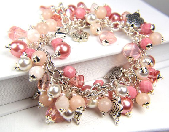 Handmade Light Pink Salmon Pearl  Cha Cha by Thebracelettree