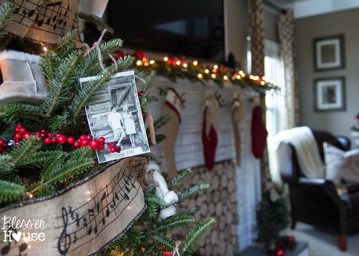 Love the music note burlap garland and the photo ornament idea!