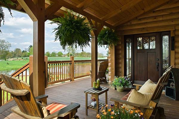 1000 images about log cabin porches decks and sunrooms for Log cabin porches and decks