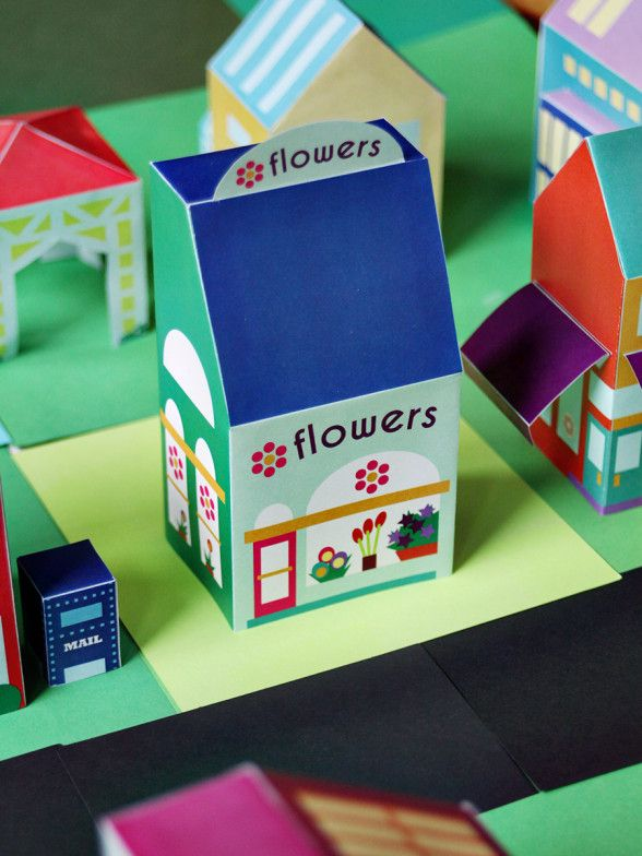 Brighten up someone's day with a flower shop printable! Print an entire neighborhood of paper toys - 25+ houses, people, cars, and more! via SmallforBig.com #letsneighbor