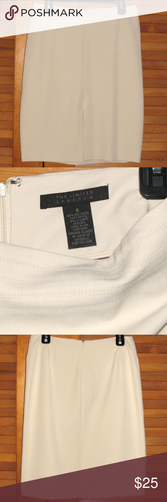 """The Limited stretch ivory pencil skirt 7 1/2"""" slit in front, stitched slight v-shaped section on flat front. Zipper and hook in back. Measures approximately 15 1/2"""" across waist when laid flat (but stretches to 16"""").  23"""" top of zipper to hem. 62% polyester, 34% rayon, 4% lycra Dry clean.  Smoke-free home! The Limited Skirts Pencil"""