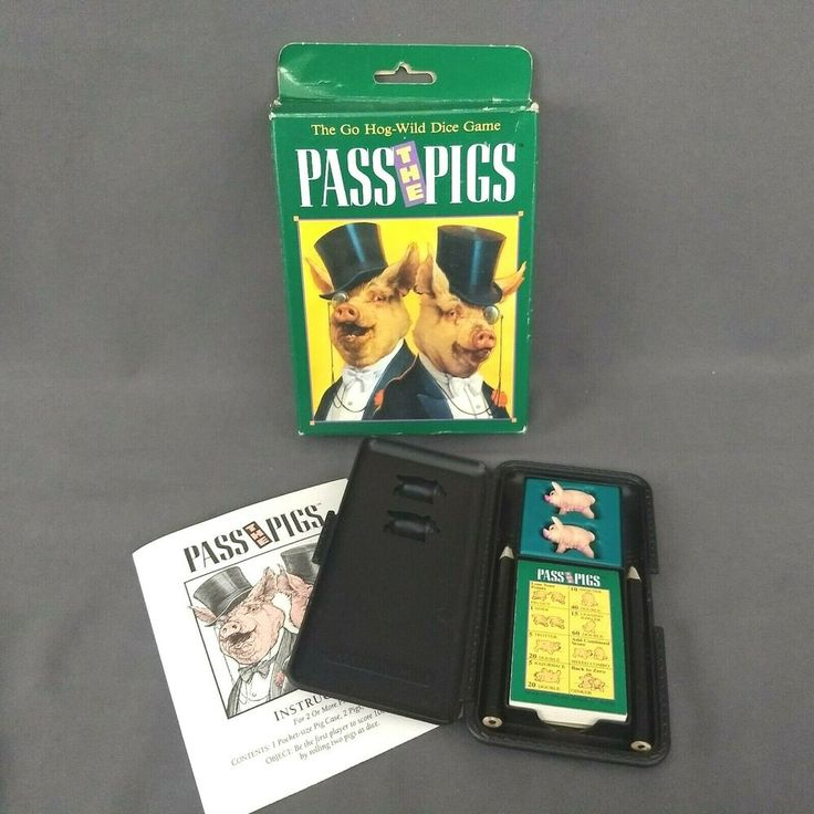 Milton Bradley Pocket Pass The Pigs Dice Game PreOwned