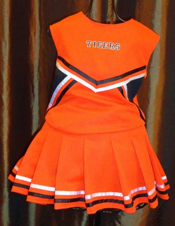 Authentic look Cheerleading uniform in orange with black trim, varsity font, FREE PERSONALIZATION, Birthday theme party