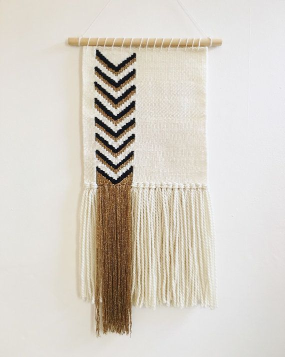 MADE TO ORDER Hand Woven Wall Hanging with Black and by WovenBlush