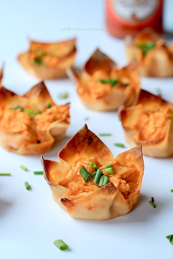 "Skinny Buffalo Chicken Wonton Cups ~ Your favorite Buffalo Dip in ""skinny"" form and all packed inside a crispy wonton wrapper!"
