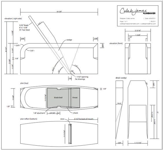 Wooden Smoothing Plane Plans [This seems to be a very good set of plans, generously offered by the designer. If you are considering making a set of quality planes, this might be the place to start]: