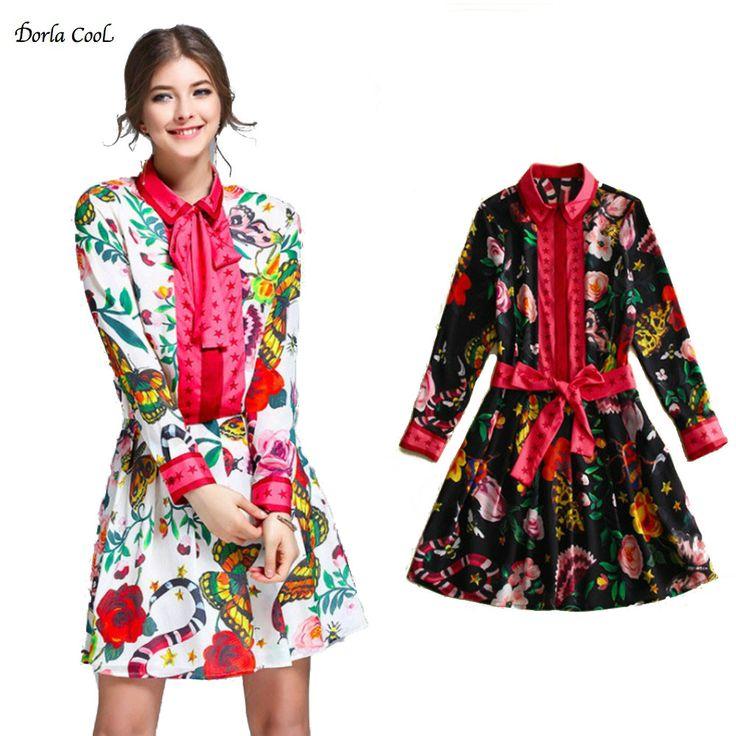 Dorla Cool 100% Silk Women's Dress 2017 Spring Summer Printed Runway Female Belt Vintage Casual Short Cute High Quality Dresses