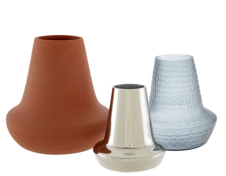 OAN vases in polished aluminium, hand-cut smoke-blue glass and terracotta £78/£92/£60