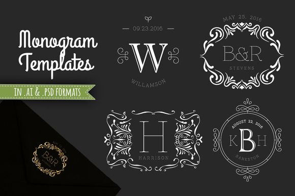 4 Decorative Monogram Template PSD by Studio29 on Creative Market
