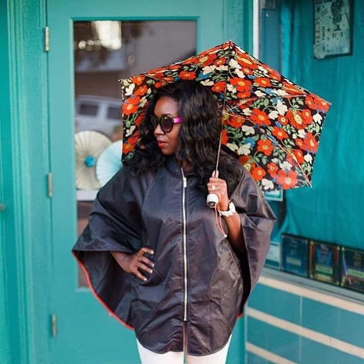 Dazzling Poncho Raincoat with Floral Umbrella
