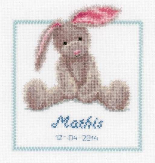 Cute Bunny Birth Sampler Cross Stitch Kit £23.95 | Past Impressions | Vervaco