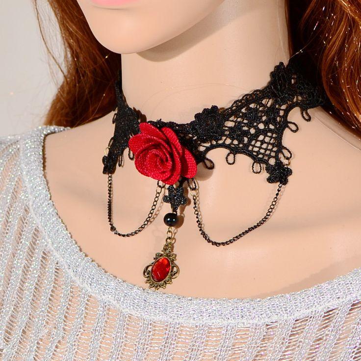 Готическая лолита черное кружево большая красная роза воротник ожерелье для Wodding ювелирные изделия Z9T12