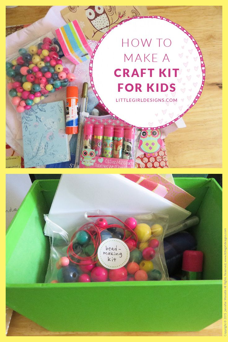 How to Make a Craft Kit for kids ~ put together a craft kit that will entertain your kids for hours. Also makes a wonderful gift! littlegirldesigns.com