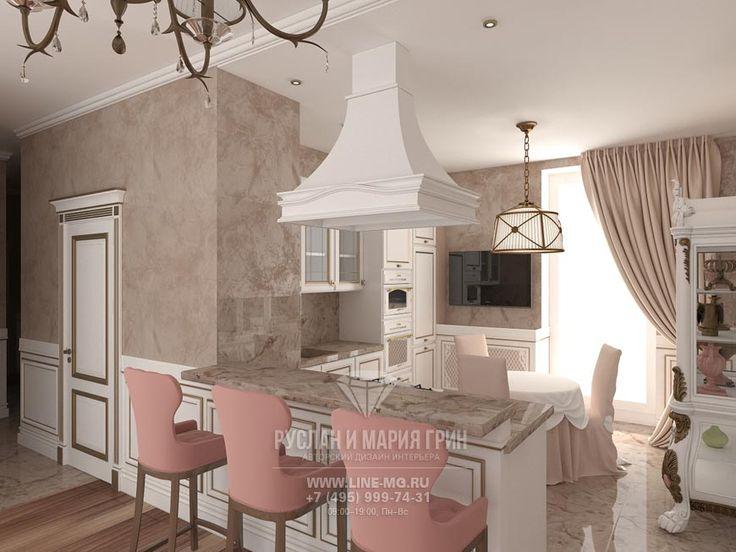 Фото интерьера кухни в классическом стиле  http://www.line-mg.ru/dizayn-kuhni-stolovoy-rozovy-bezhevy