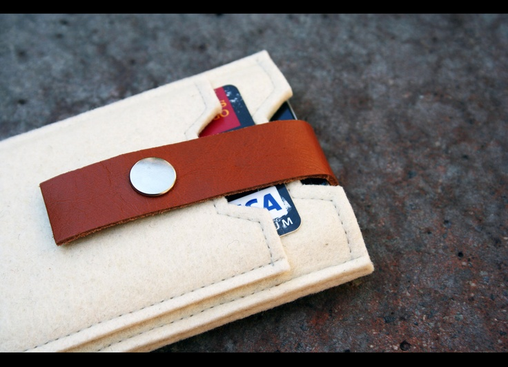 pure Merino wool felt iphone case - mini wallet with leather strap. $35.00, via Etsy.