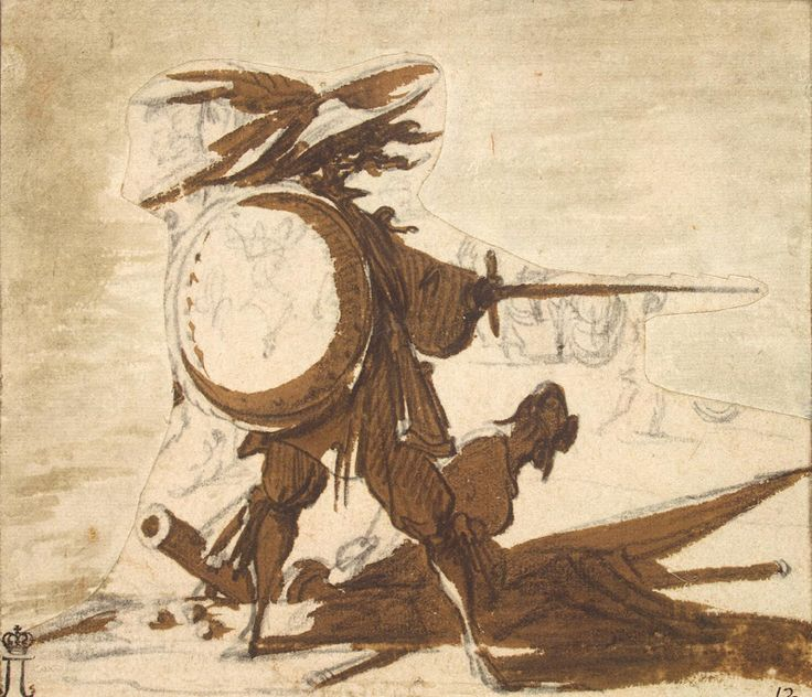 Drawings by Jacques Callot - Warrior with a Shield and a Sword
