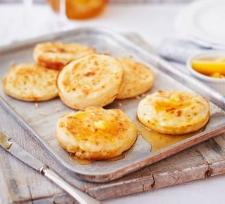 Homemade crumpets with burnt honey butter | BBC Good Food